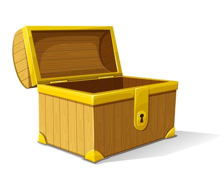 ladenkast: vector oude houten doos van de schat geopend geïsoleerd op witte achtergrond Stock Illustratie