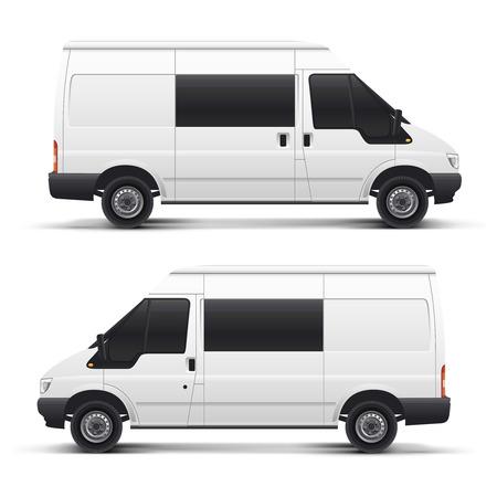 minibus: vector illustration white auto car minibus for freight transportation