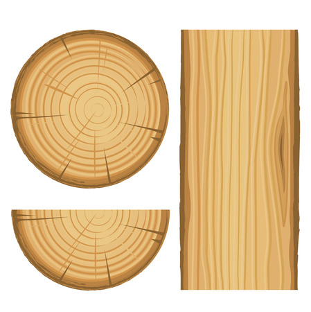 vector wood material parts isolated on white background Illustration