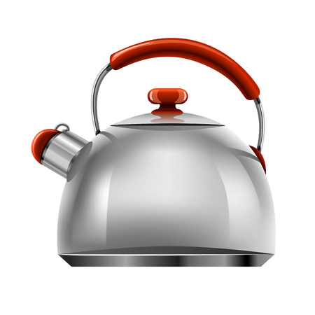 boiling water: vector new silver tea pot kitchen tableware isolated on white background