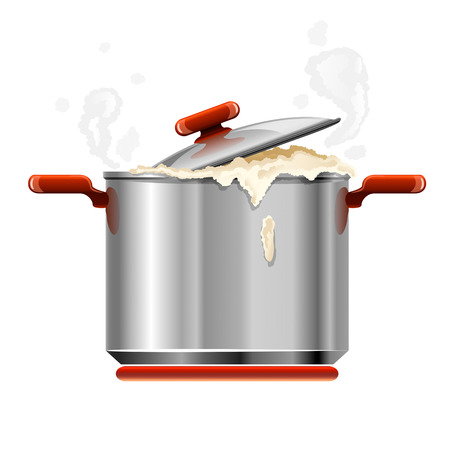vector new silver pan tableware boiling isolated on white background Stock Vector - 3504106