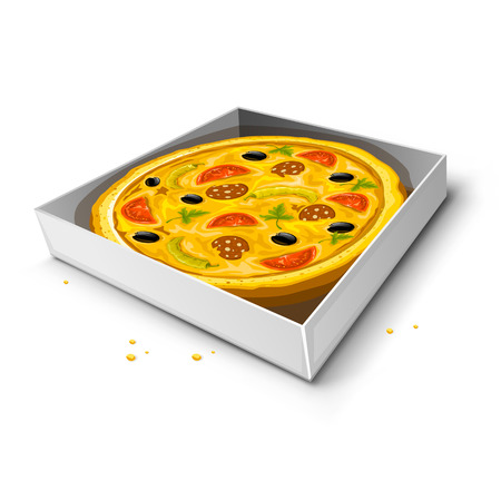 paper box with pizza vector illustration isolated on white background Stock Vector - 3504112