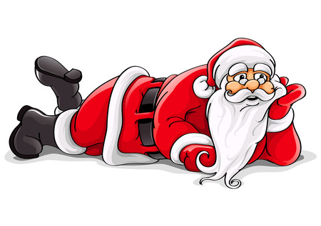 Santa Claus lying Christmas vector illustration isolated on white background Illustration
