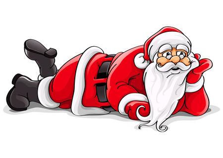 one year old: Santa Claus se extiende de Navidad ilustraci�n vectorial aisladas sobre fondo blanco  Vectores