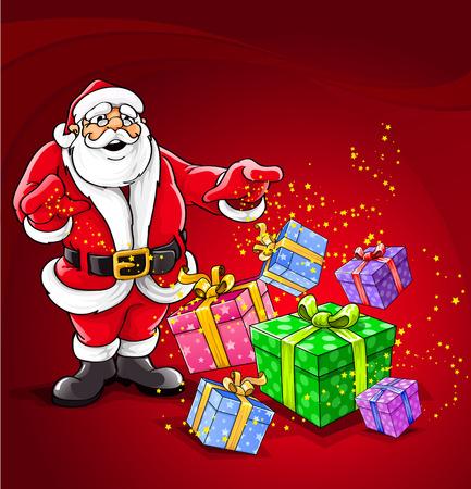 one year old: Santa Claus Navidad magia ilustraci�n vectorial Vectores