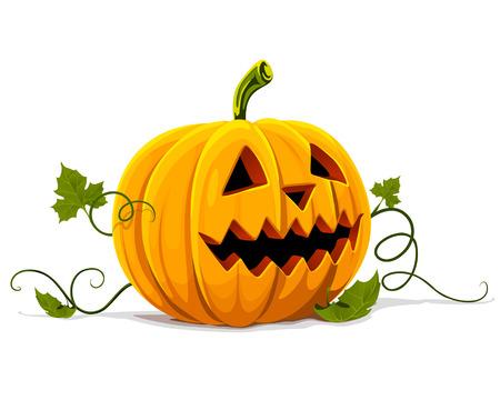 halloween k�rbis: Vector Halloween K�rbis Obst Gem�se isoliert auf wei�em Hintergrund Illustration