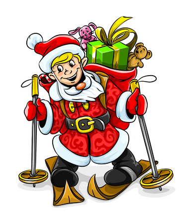 young Christmas Santa boy with gifts on skis vector illustration Vector