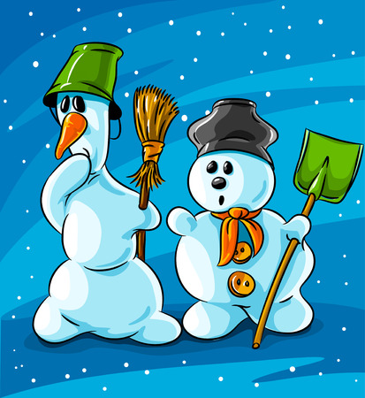 surprised vector winter snowmen with cleaning tools on blue snowing background Vector