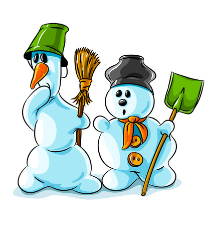 surprised vector winter snowmen with cleaning tools isolated on background Stock Vector - 3688330