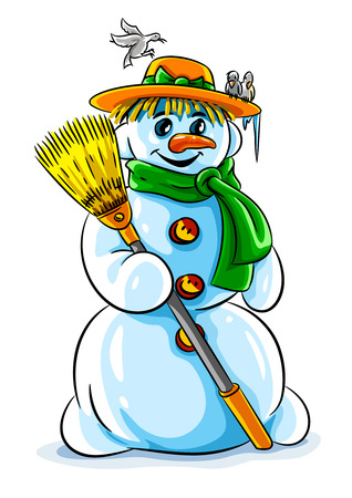 vector illustration of winter snowman with broom Vector