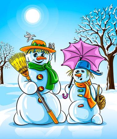 vector illustration winter snowmen with broom pink umbrella  Vector