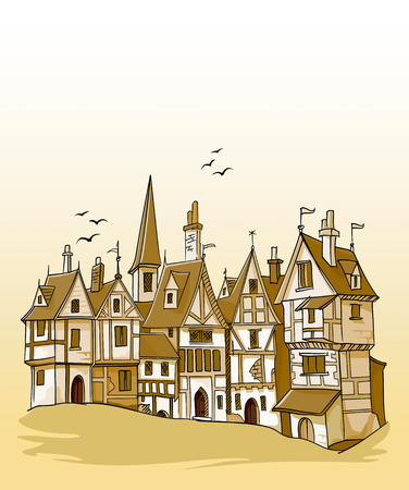 old european town architecture vector illustration Vector