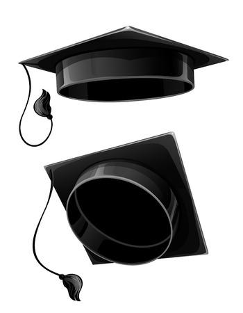 vector black cap of university student isolated on white background