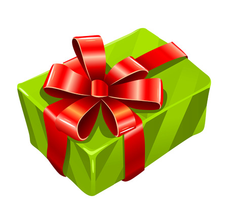 vector gree gift box isolated on white background Vector