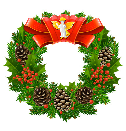 christmas wreath with red ribbon and angel vector illustration Vector