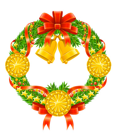 christmas wreath with red ribbon and bells vector illustration Vector