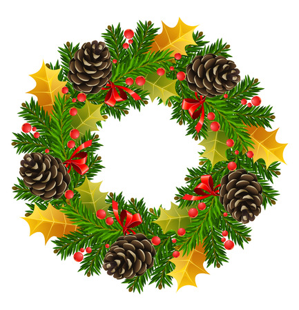 christmas wreath: round christmas wreath vector illustration isolated on white background Illustration