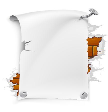 vector illustration of blank paper sheet nailed by nail to broken brick wall Illustration