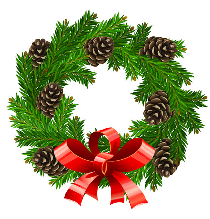 fir cones: vector illustration of wreath christmas decoration isolated on white background