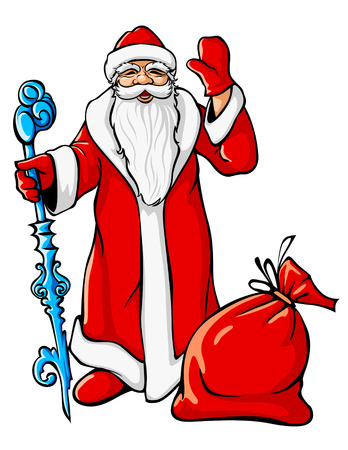 Christmas Santa Claus with big sack and icy stick vector illustration Vector