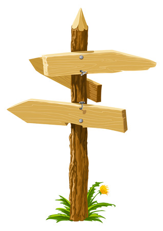 wooden direction arrows on the crossroads vector illustration Vector