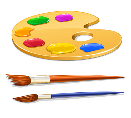 tempera: art palette with paint and brushes vector illustration Illustration