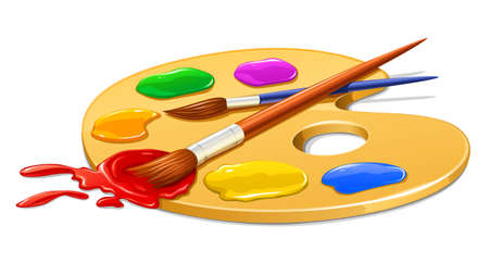 art palette with paint and brushes vector illustration Vector