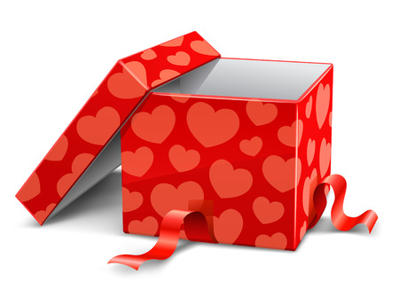 gift packs: red opened cardboard box with hearts vector illustration