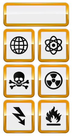 set of danger icons with gold frame Vector