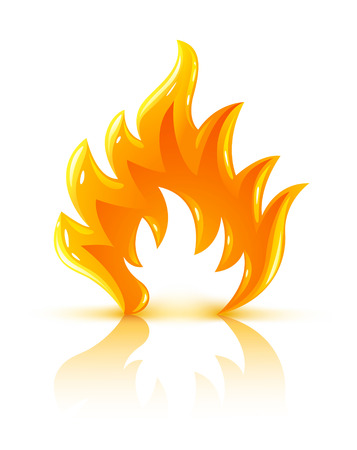 silouette: glossy burning fire flame icon vector illustration