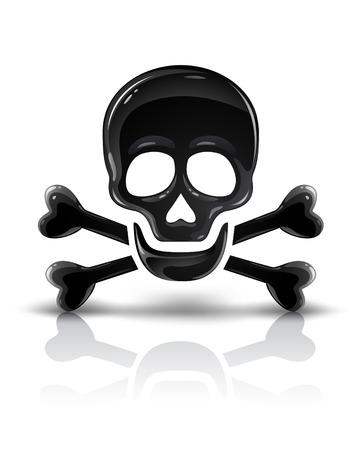 cross bones: black skull symbol with crossed bones vector illustration Illustration