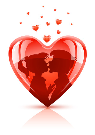 red heart with young teens couple kissing vector illustration Stock Vector - 4124670