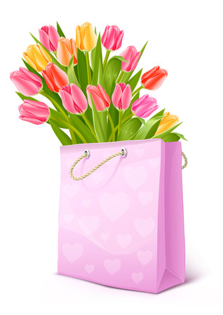 bouquet of tulip flowers in the pink bag - vector illustration Vector