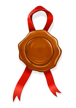 tampon cire: cachet de cire avec du ruban rouge pour l'�l�ment de documents - illustration vectorielle