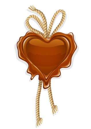 tampon cire: cachet de cire en forme de coeur design - illustration vectorielle