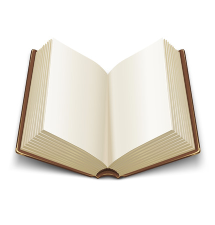 libros abiertos: libro abierto con marr�n cubierta - ilustraci�n vectorial