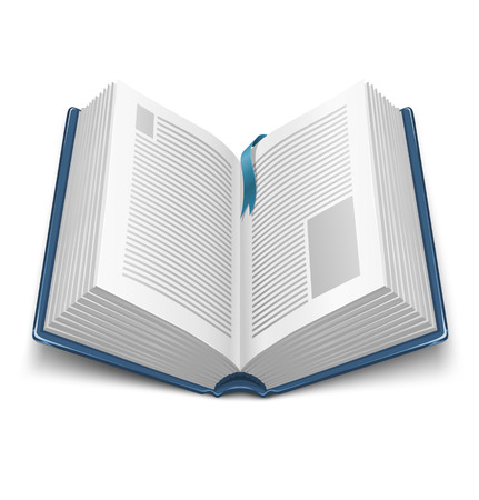 handbooks: opened book with blue cover and mark - vector illustration Illustration