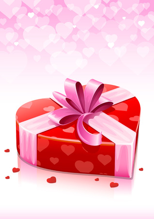 fillings: red heart box with ribbon valentines greeting card background - vector illustration