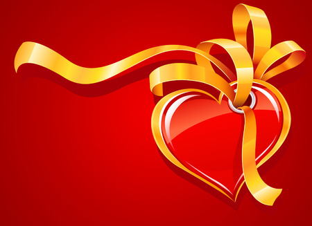 red heart with gold ribbon on the red background vector illustration of Valentines day greeting card Vector