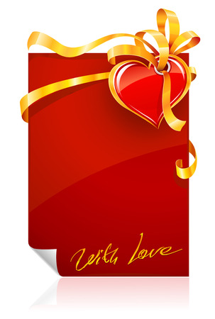 fillings: red Valentines day greeting card with heart and gold ribbon - vector illustration