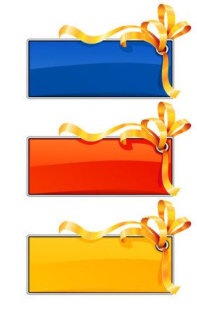 tree banners with gold ribbon - vector illustration Vector