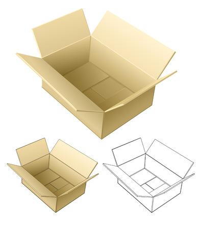 open cardboard box isolated on white - vector illustration Vector