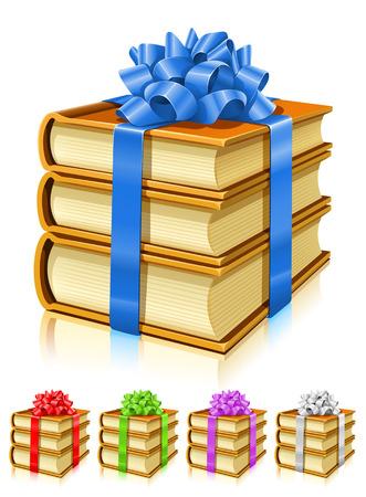 empacar: donaciones de libros con cintas y lazos de color - ilustraci�n vectorial