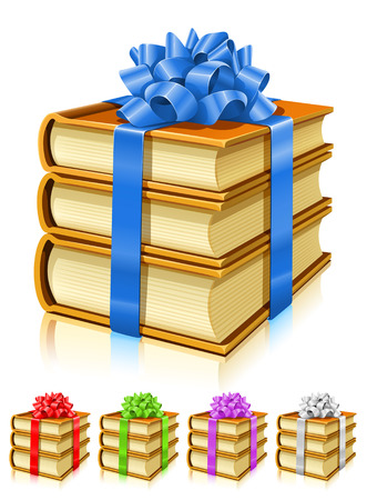 book vector: gifts of books with color ribbons and bows - vector illustration