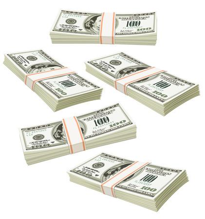 greenback: flying packs of dollars money isolated - vector illustration