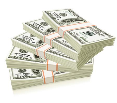 millonario: Envases de d�lares en dinero aislados - ilustraci�n vectorial