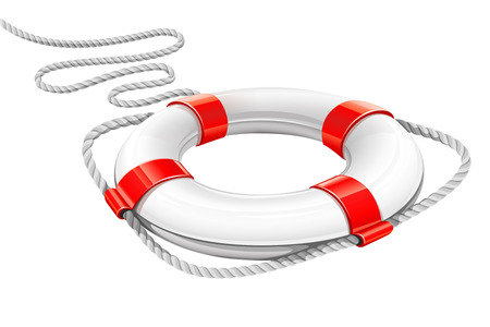 sea disaster: rescue circle for help in water - vector illustration Illustration