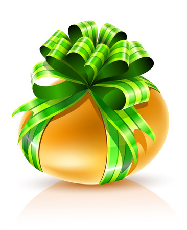 gold easter egg with green ribbon isolated - vector illustration Vector