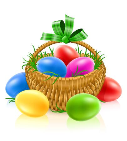 stilllife: basket with easter eggs - vector illustration