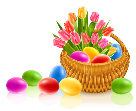 vector illustration  hen: easter eggs in basket with tulip flowers - vector illustration